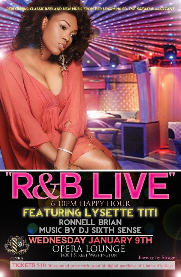 Wednesday Jan. 9th R&B Live featuring Lysette TiTi @ Opera Lounge